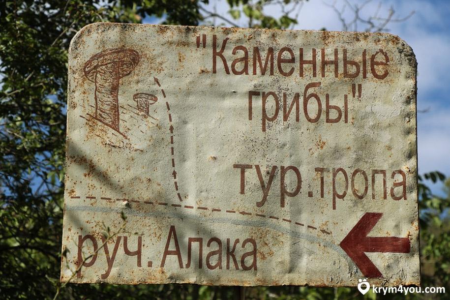 Водопад Гейзер Крым, указатель на каменные грибы